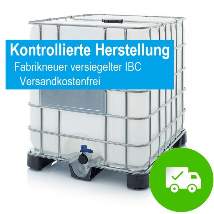 Demineralisiertes VE Wasser<br>im neuen versiegelten IBC<br>inkl. Versandkosten