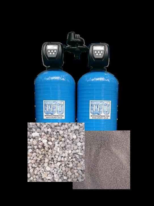 Doppel Kiesfilter 1,0 m³/h Mengen und Zeitgesteuert
