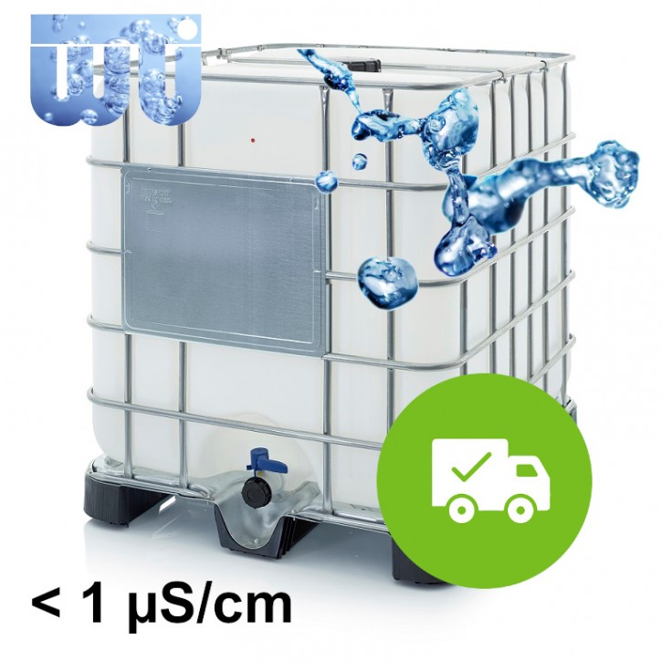 Hochreines VE Wasser<br>Im neuen versiegelten IBC<br>Inklusive Versandkosten